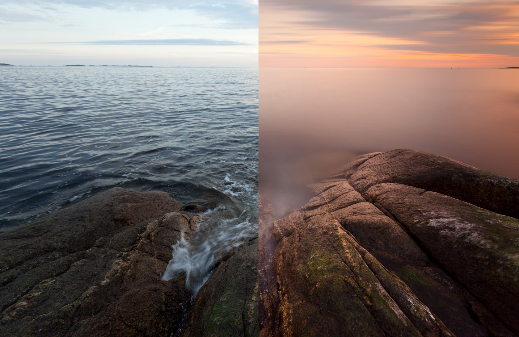 To illustrate the difference of a 10 stop ND filter, I made this image, consisting of a normal exposure (on the left) and an exposure with a 10 stop ND filter (right). Shooting with very heavy ND filters is challenging, but as you can see, the effects can be mesmerizing. Waves are smoothed out, splashed become mist, the light takes on a different character, and in the case of my B+W ND, I get a warm, pinkish tone. Settings. Before: 1/20 sec, f/8, ISO 200 After: 239 sec (4 minutes), f/16, ISO 200